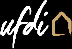 Logo UDFI Blanc et or - Union Francophone des Décorateurs et Architectes d'intérieur